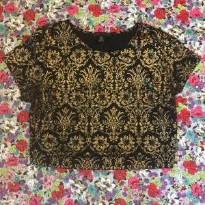 Brocade crop top black gold Forever 21 plus